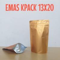 kemasan kopi kemasan kripik stand pouch alumunium emas 250 gram zipper