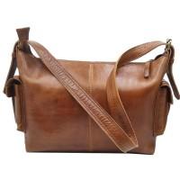 [L] Shoulder sling bag pria wanita kulit sapi asli coklat keren saku