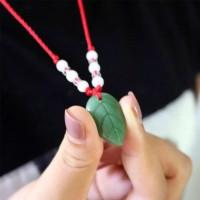 Kalung Liontin Batu Giok Imitasi Gaya Etnik Pria / Wanita Green-PR