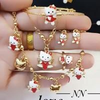 xuping set perhiasan anak kalung anting cincin lapis emas 24k 2845