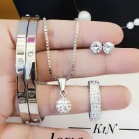 titanium set perhiasan kalung gelang cincin lapis emas 24k 2832