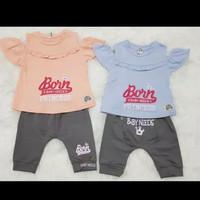 Setelan Baju Kaos Anak Bayi Cewek Lengan Sabrina / Baju Bayi Cewek