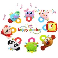 HAPPY MONKEY Rattle Tangan dan Teether Hand Rattle Mainan Bayi