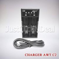 Authentic AWT C2 Fast Charging 2A USB Charger Baterai Vape 18650 26650