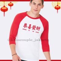 BEST SELLER Kaos Raglan Putih Merah EDISI IMLEK 2019 / GONG XI FA CHAI