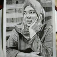 lukisan sketsa wajah ukuran a4 (1 wajah)