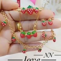 xuping set perhiasan anak kalung gelang cincin lapis emas 24k 0326