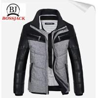 Jaket pria musim dingin kulit sintetis kombinasi fleece tebal