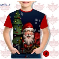 kaos anak berkualitas - kaos natal -kaosfull print natal santa merah