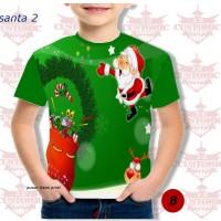 kaos anak berkualitas - kaos natal -kaosfull print natal santa hijau 1