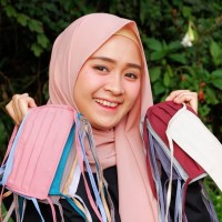 Masker Hijab Kain Oxford Polos Tali Panjang N95 Anti Virus Corona