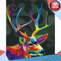 Lukisan Dinding Impor Frameless Natal Warna-warni Rusa Hewan Diy By Nu