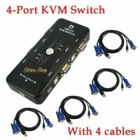 KVM SWITCH USB 4 PORT MANUAL + 4 Pcs Kabel KVM USB