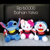 Boneka Wisuda Stitch/ Boneka Graduation Hello Kitty/ Doraemon