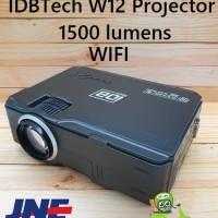 IDBTECH W12 Proyektor Mini LED Projector Portable 1500 Lumens + WIFI