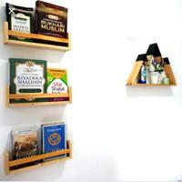 Rak Buku Ambalan majalah Kayu Gantung Melayang Minimalis - 30cm