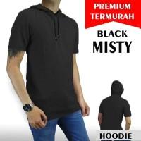 kaos hoodie polos hitam solid