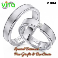 Cincin Cewek Cincin Sepasang Kawin Tunangan Perak Cincin Couple V-804