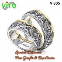 Cincin Cewek Sepasang Cincin Kawin Tunangan Perak Cincin Couple V-805