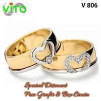 Cincin Cewek Sepasang Couple Cincin Kawin Tunangan Perak V-805
