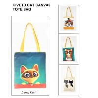 TC35 Civeto Cat Printed Canvas Tote Bag / Tas Selempang