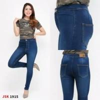 Celana Skinny Highwaist Jeans Wanita Celana Panjang Denim Pensil JSK - Biru, 27