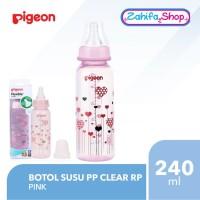 Botol Susu Pigeon PP Clear RP 240ml - PINK - Slim Standard Neck 240 ml