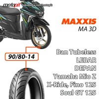 Maxxis MA 3D 90/80-14 Ban Depan Lebar Yamaha Fino Soul GT Mio Z S 125