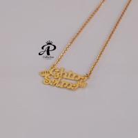 Kalung Nama berlapis emas 24k motif cantik anti karat Murah