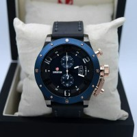 jam tangan pria expedition 6381 rose gold blue Leather black original