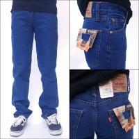 celana biowash biru tua jeans standar pria regular