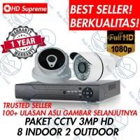 PAKET CCTV 10 KAMERA 1080P FULL HD 16 CHANNEL (8 INDOOR, 2 OUTDOOR)