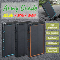 Army Grade Solar Powerbank Power Bank 10000 mAh IP66 Waterproof etc - Hitam