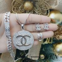 xuping set perhiasan kalung gelang cincin lapis emas putih 24k 0662