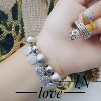 Xuping set gelang dan cincin lapis emas putih 0689