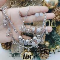 Xuping set gelang kalung anting cincin lapis emas putih 0687
