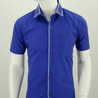 kemeja Pria Kemeja Semi Formal LUIGI RICCIO electric blue color