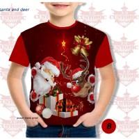 kaos anak berkualitas - kaos natal -kaosfull print natal santa & deer