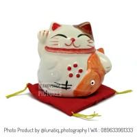 Patung Kucing Mini Maneki Neko Keramik Lucu FS181251D
