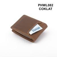 dompet pria kulit asli bifold model saku diluar coklat - PHWL082