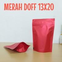 kemasan standing pouch merah doff 13x20cm