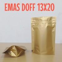 kemasan standing pouch warna emas doff 13x20 cm