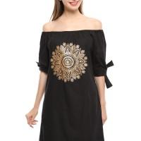 dress sabrina wanita pendek selutut hitam gambar