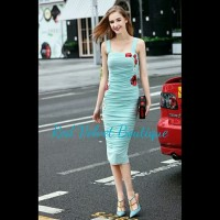 Sky Blue Embroidery Flower Ruffle D&G Style Copy Runaway Dress IMPORT