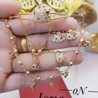 xuping set perhiasan anak kalung gelang cincin lapis emas 24k 0758