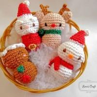 boneka rajut tema natal (santa, kue jahe, boneka salju , rusa natal)