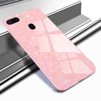 Oppo F9 F 9 Luxury Shining Marble Tempered Glass Case Ultra Slim - Hitam