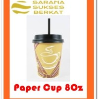 Paper Cup Coffee Set - Paper Cup 8oz - Tutup - Sedotan - 50 pcs