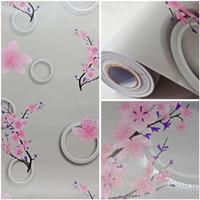 Wallpaper Dinding Sticker Motif Bunga Sakura Pink 3D P.10 M x 45 cm
