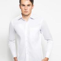 Alisan Kemeja Pria Polos Putih Slimfit Lengan Panjang - Putih, XL